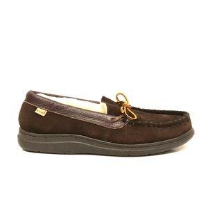 L.B. Evans Men's Leather Faux Fur Slipper Shoes 9